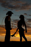 Silhouette cowboy Indian rope club Royalty Free Stock Images