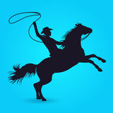 Silhouette of cowboy with lasso riding on horse. Silhouette of male rider cowboy with lasso. Vector illustration Stock Photos