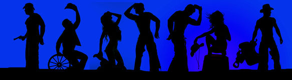 Silhouette of cowboys and cowgirls in a blue sky Stock Images