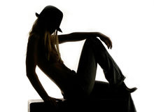 Silhouette of cowgirl Royalty Free Stock Images
