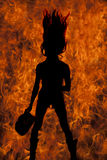 Silhouette cowgirl forward flip hiar Royalty Free Stock Images