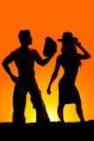 Silhouette of a cowgirl hat on showing body shape with cowboy Stock Photo