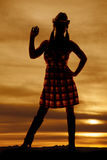 Silhouette cowgirl wave Royalty Free Stock Image