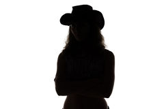 Silhouette of cowgirl Stock Photography