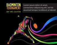 Silhouette créative d'un joueur professionnel de badminton Images stock