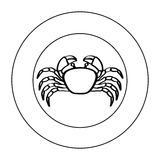 Silhouette crab in circular frame Royalty Free Stock Photo
