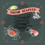 Silhouette crab, shrimp, fish, lemon. Stock Photography