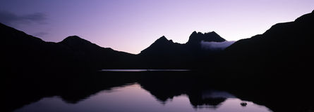 Silhouette of cradle mountain Stock Photos