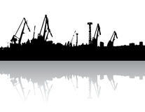 Silhouette crane Royalty Free Stock Images
