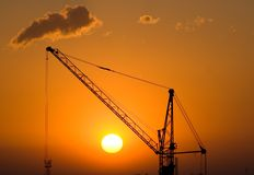 Silhouette of crane Royalty Free Stock Photos