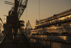 Silhouette of cranes and warehouses in Odessa Royalty Free Stock Images