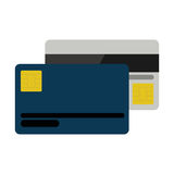Silhouette credit card by both sides Stock Images