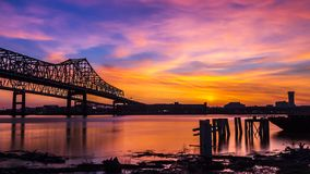 New Orleans Skyline over Mississippi River stock images