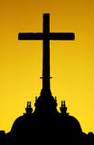 Silhouette of the cross stock image