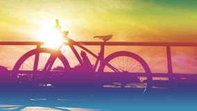 Silhouette of cross country bicycle.Photo Filter Royalty Free Stock Photography