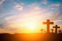 Silhouette of a cross. On a hilltop Royalty Free Stock Photography