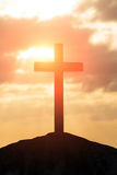 Silhouette of cross. Symbol of God love to people Royalty Free Stock Photo