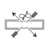 Silhouette with crossed arrows on rectangle Royalty Free Stock Photos