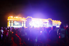 Silhouette crowd in front of concert stage blurred. Photo  silhouette crowd in front of concert stage blurred Royalty Free Stock Image