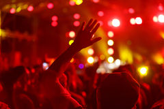 Silhouette crowd in front of concert stage blurred. Photo  silhouette crowd in front of concert stage blurred Royalty Free Stock Photo