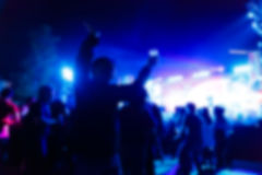 Silhouette crowd in front of concert stage. Photo silhouette crowd in front of concert stage Royalty Free Stock Photos