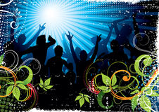Silhouette crowd illustration. Colorful illustration of a silhouette crowd with retro/grunge design Stock Photography