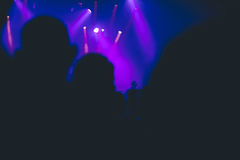 Silhouette of crowd in a night club. Silhouette of a crowd in a night club Stock Photos