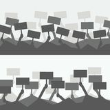 Silhouette crowd of people holds protest signs. Hands holding blank picket placard. Demonstration, picket or conflict action. Protesters people. Vector royalty free illustration