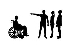 Silhouette . Crowd of people makes it clear to an invalid in a wheelchair that he must walk away stock illustration