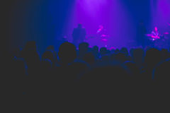 Silhouette of crowd at rock concert. Royalty Free Stock Images