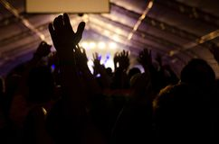 Silhouette Crowded People and Stage Lights stock photos