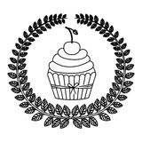 Silhouette crown of leaves with cupcake with cream and cherry Royalty Free Stock Photography