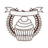 Silhouette crown of leaves with cupcake with cream and cherry Royalty Free Stock Photos