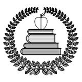 Silhouette crown of leaves with school books with apple Royalty Free Stock Photos