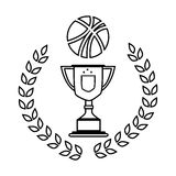 Silhouette crown of leaves with Trophy with basketball Royalty Free Stock Photo