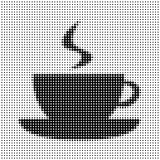 Silhouette of a cup of coffee. On a white background, halfton stock illustration