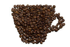 Silhouette of a cup of coffee beans Stock Photography