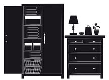 Silhouette of cupboard and chest of drawers. Silhouette drawing of an open cupboard showing the interior layout and a chest of drawers with small furnishings on stock illustration