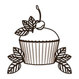 Silhouette cupcake decorated with cherry and leaves Stock Images