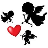 Silhouette cupid. And a big red heart on the background, vector Valentines Day Royalty Free Stock Photos