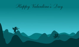 Silhouette of cupid on dessert scenery valentine Stock Photos