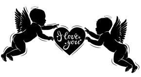 Silhouette cupids with heart I love you Stock Photo