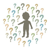 Silhouette of a curious child pointing at something and question marks around Stock Photos