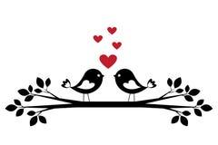 Silhouette cute birds in love Stock Photo