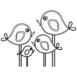 silhouette cute cartoon birds set icon Stock Image