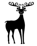 Silhouette of cute Christmas deer with beautiful antlered Royalty Free Stock Photos