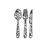 silhouette cutlery printed floral design Royalty Free Stock Photography