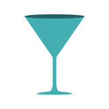 Silhouette cyan color with drink cocktail glass Royalty Free Stock Image