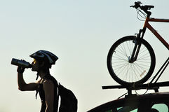 Silhouette of a cyclist Stock Image