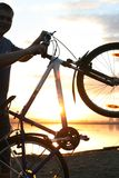 Silhouette of a cyclist Royalty Free Stock Images